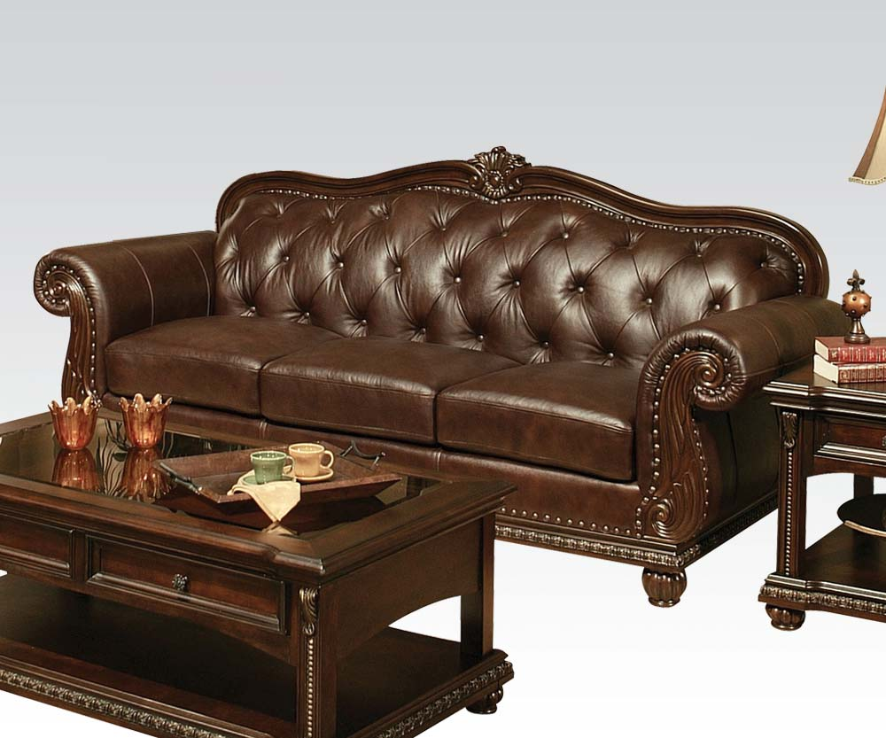 Acme furniture anondale top grain leather sofa set for Couch furniture
