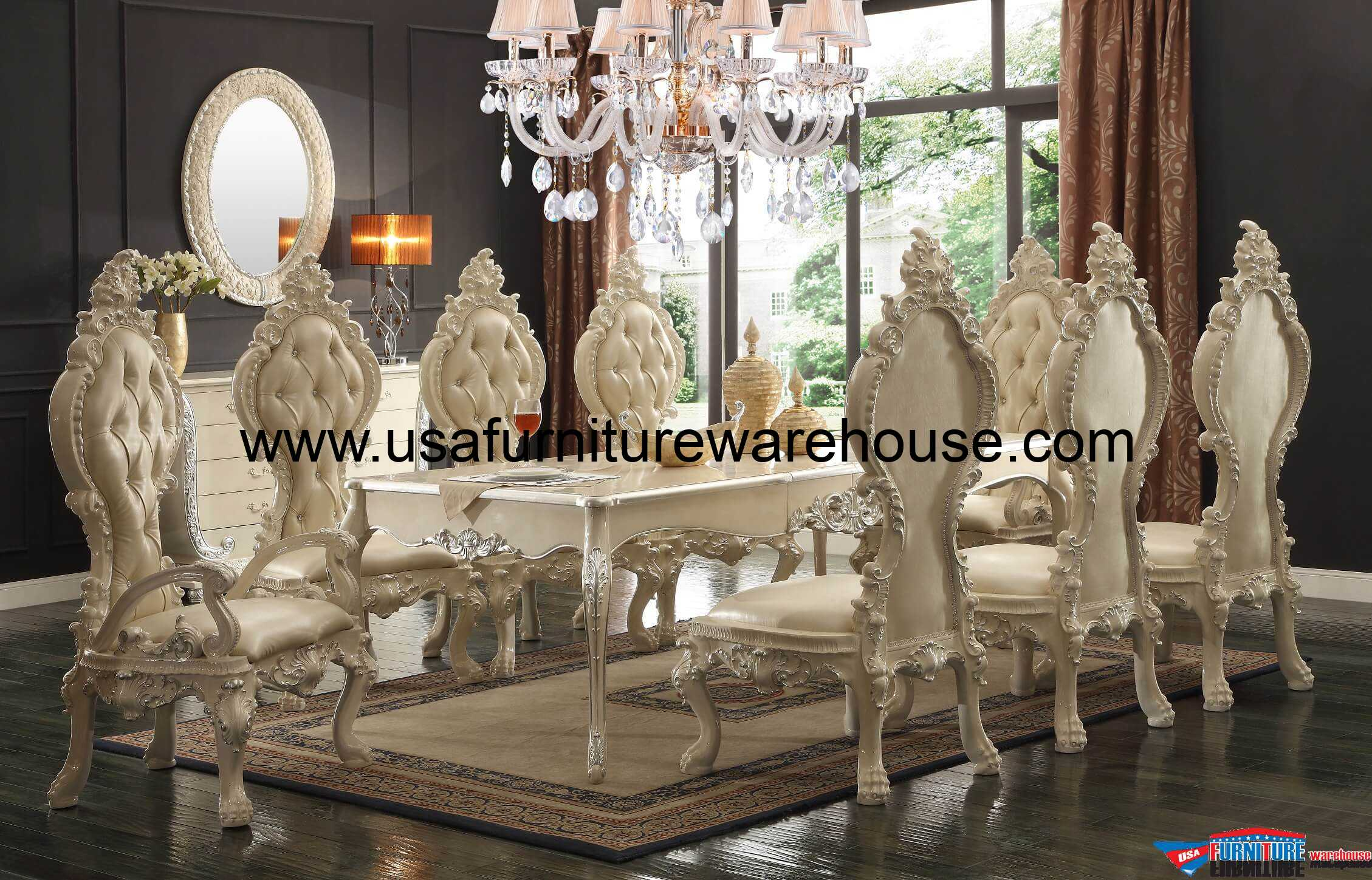 Hd 13012 homey design royal palace dining set for Hd designs home decor