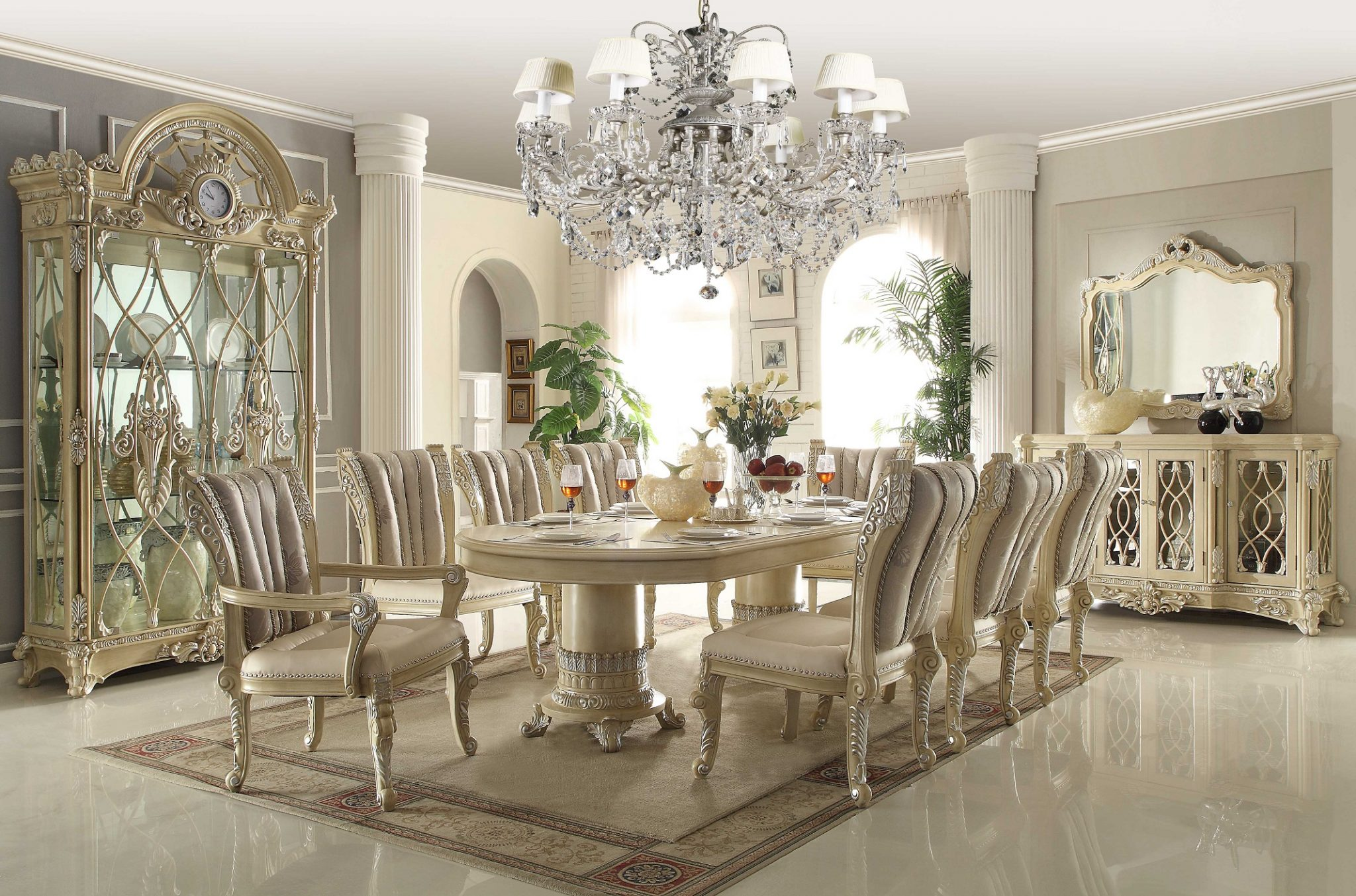 hd 5800 homey design royal dining collection set furniture of america marion contemporary 7 piece glass top