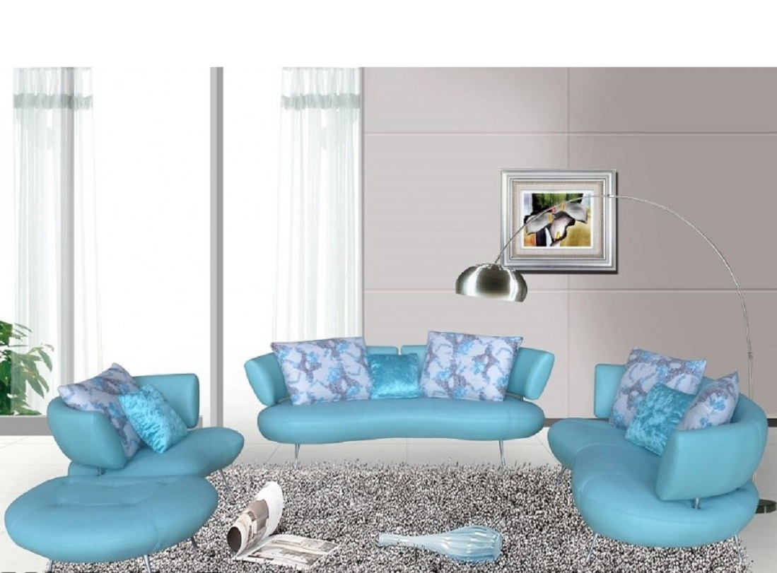 Modern S5038 Light Blue Top Grain Leather Sofa Set Usa Furniture Warehouse