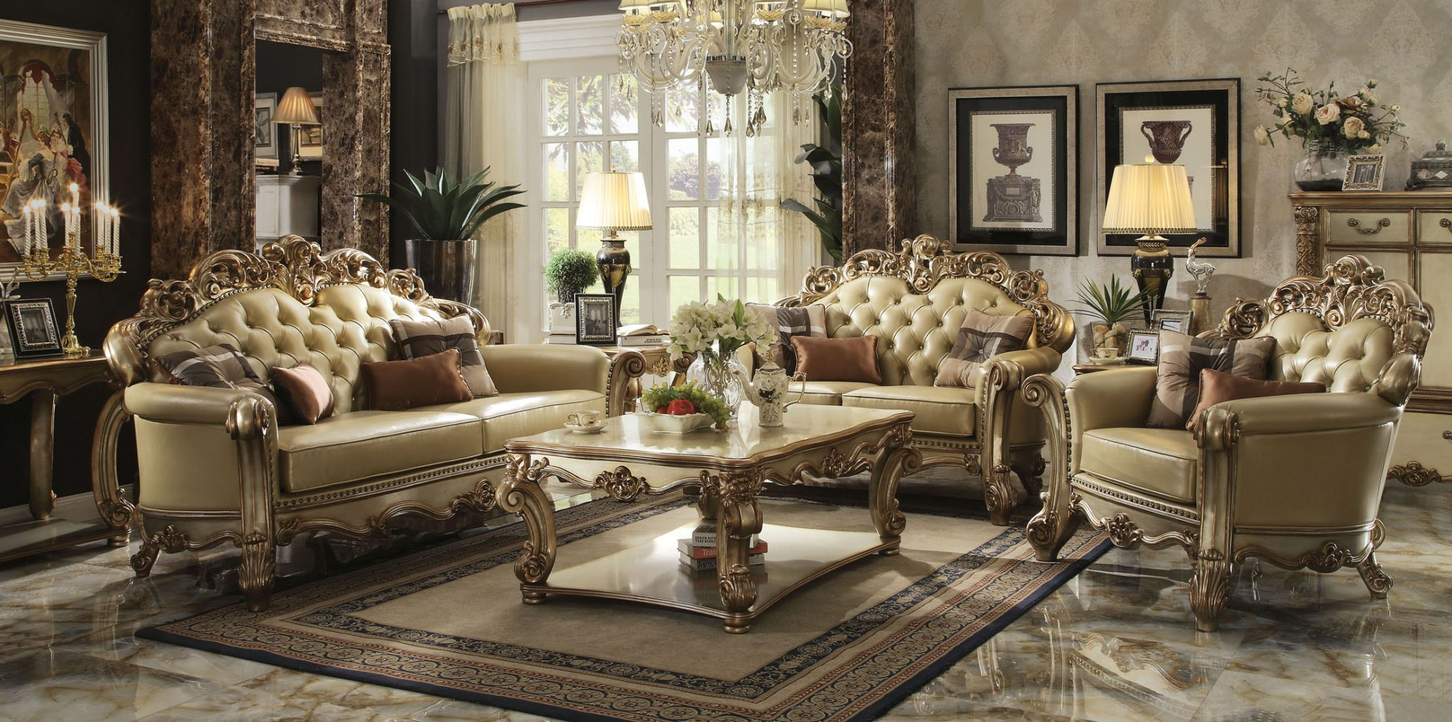 Gold patina vendome royal living set by acme furniture - Victorian living room set for sale ...