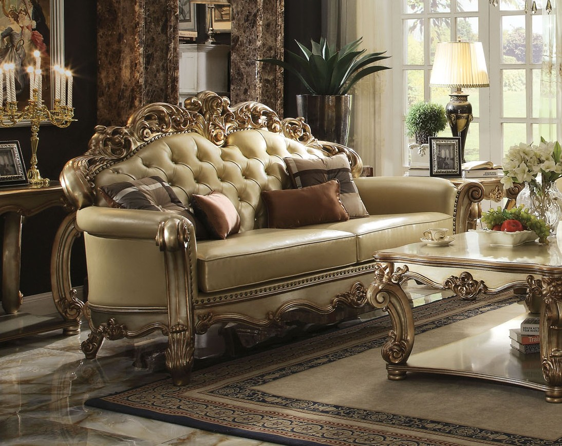 Gold Patina Vendome Royal Living Set By Acme Furniture
