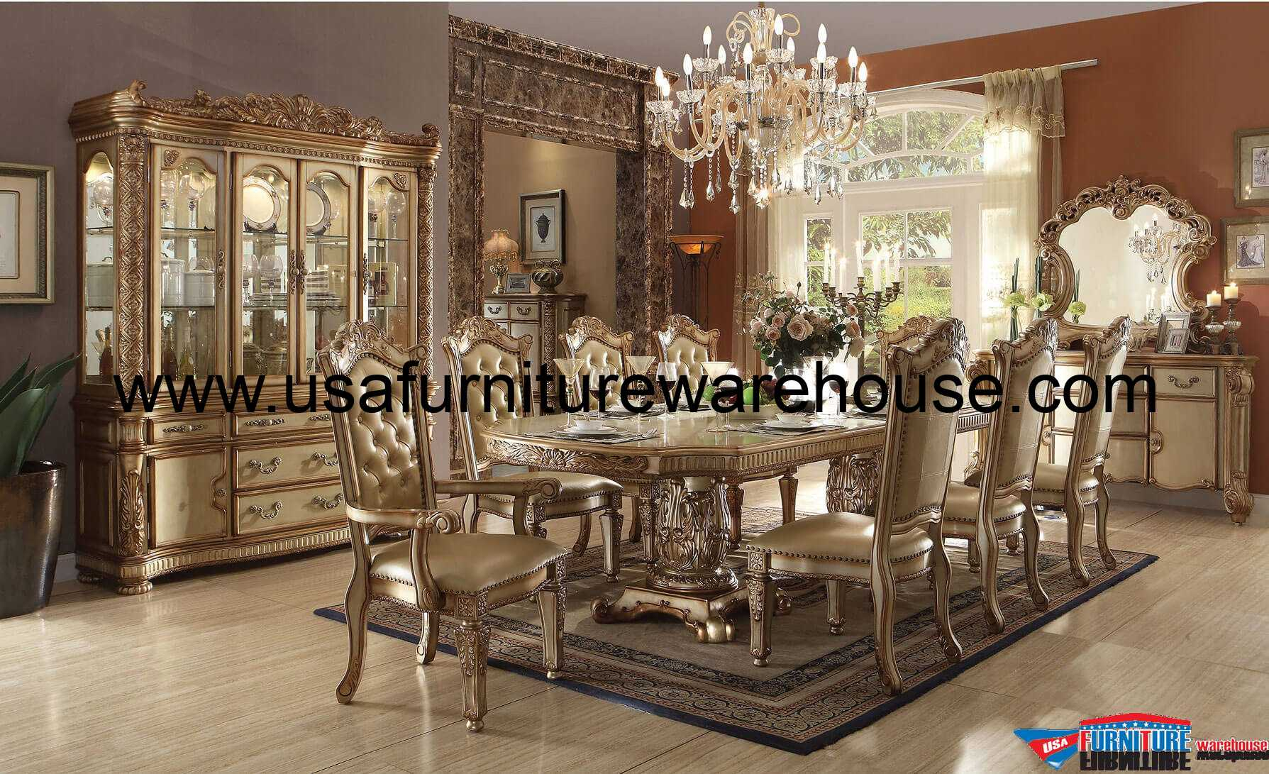Acme Furniture Vendome Gold Patina Dining Set