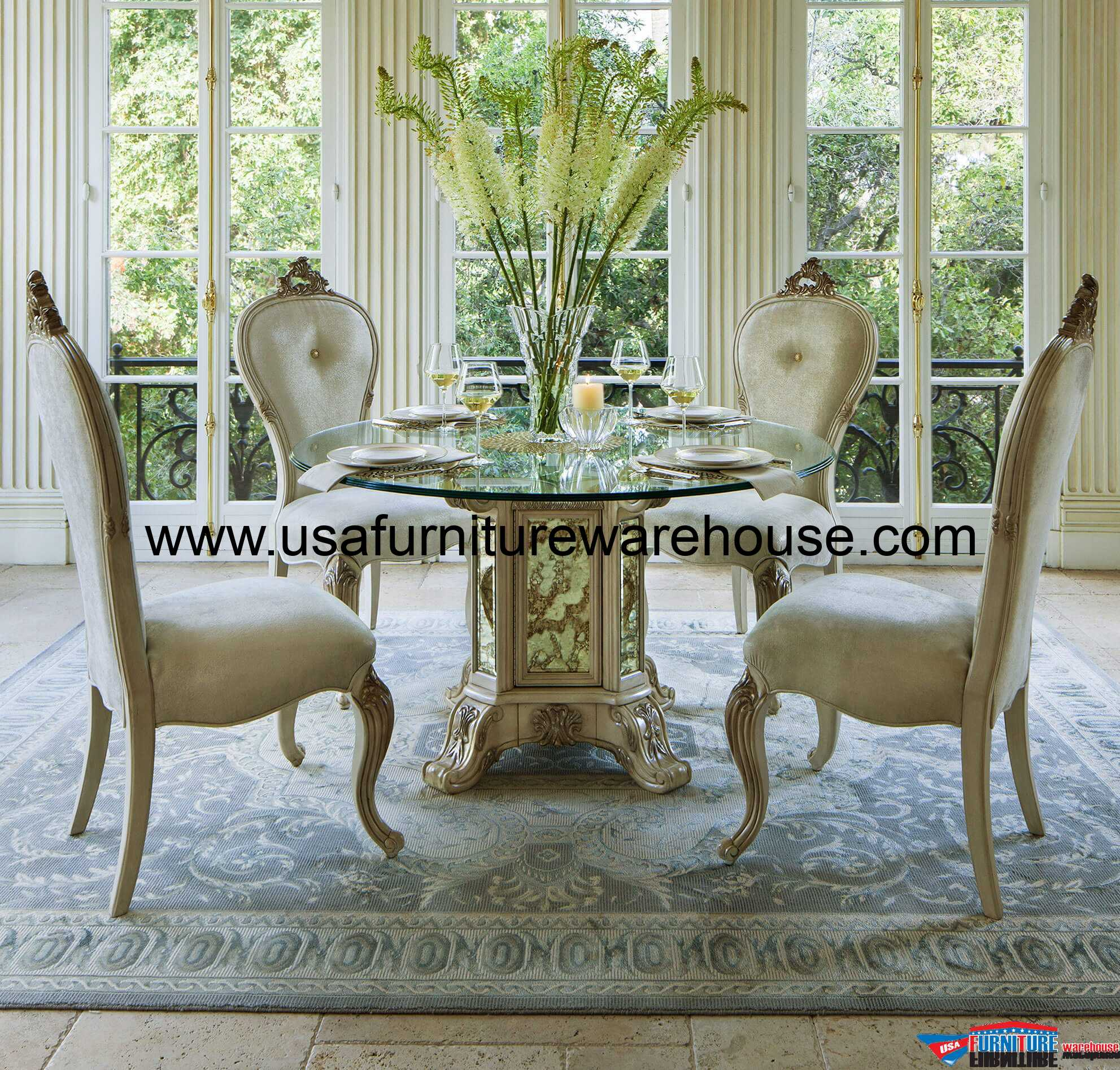 dining room aico platine de royale round glass top dining set