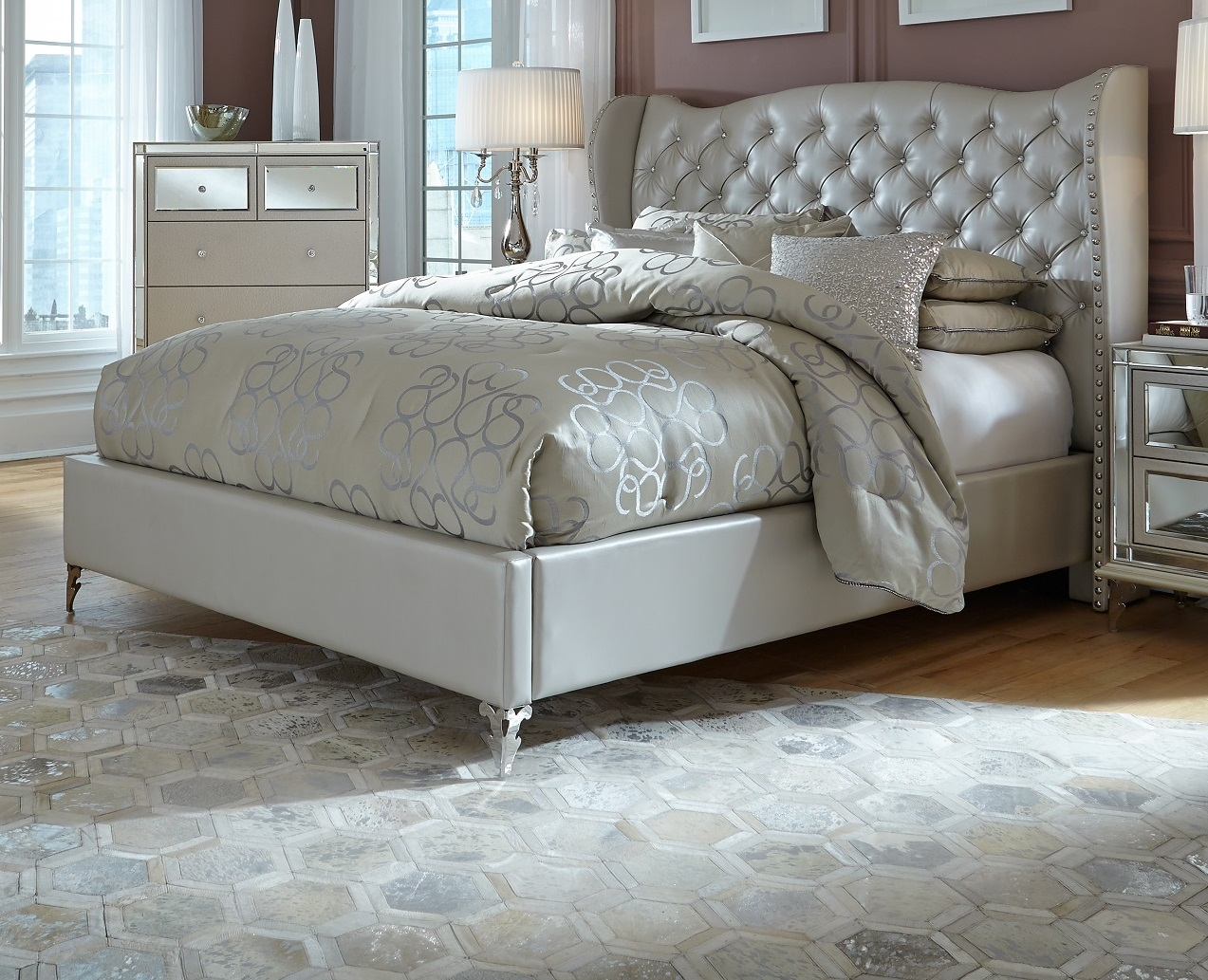 AICO Hollywood Loft Frost Upholstered Platform Bed CKBED