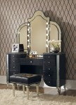 Hollywood Swank Starry Night Black Iguana Upholstered Vanity