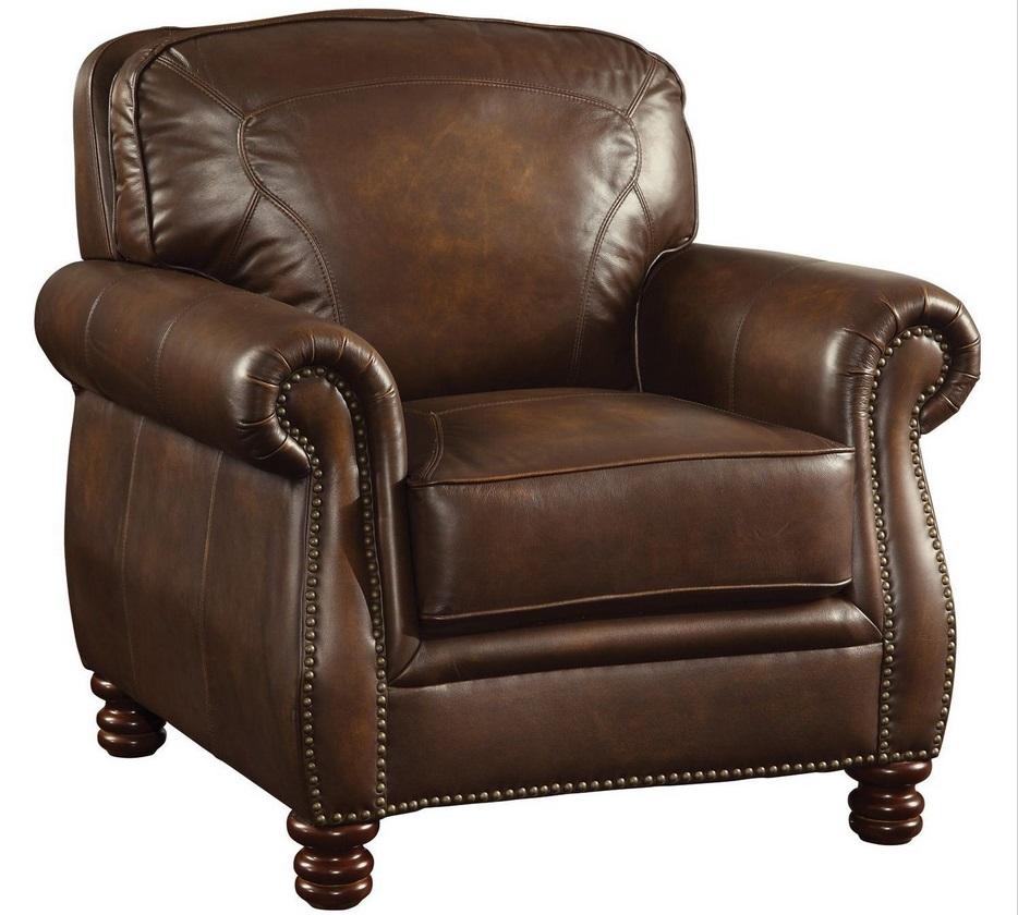 Coaster furniture montbrook brown leather chair 503983 for Furniture furniture