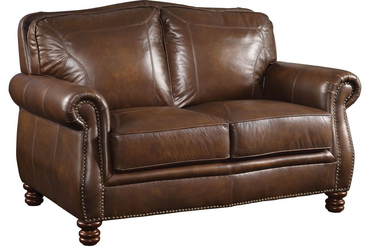 Coaster furniture montbrook brown leather loveseat 503982 Couches and loveseats