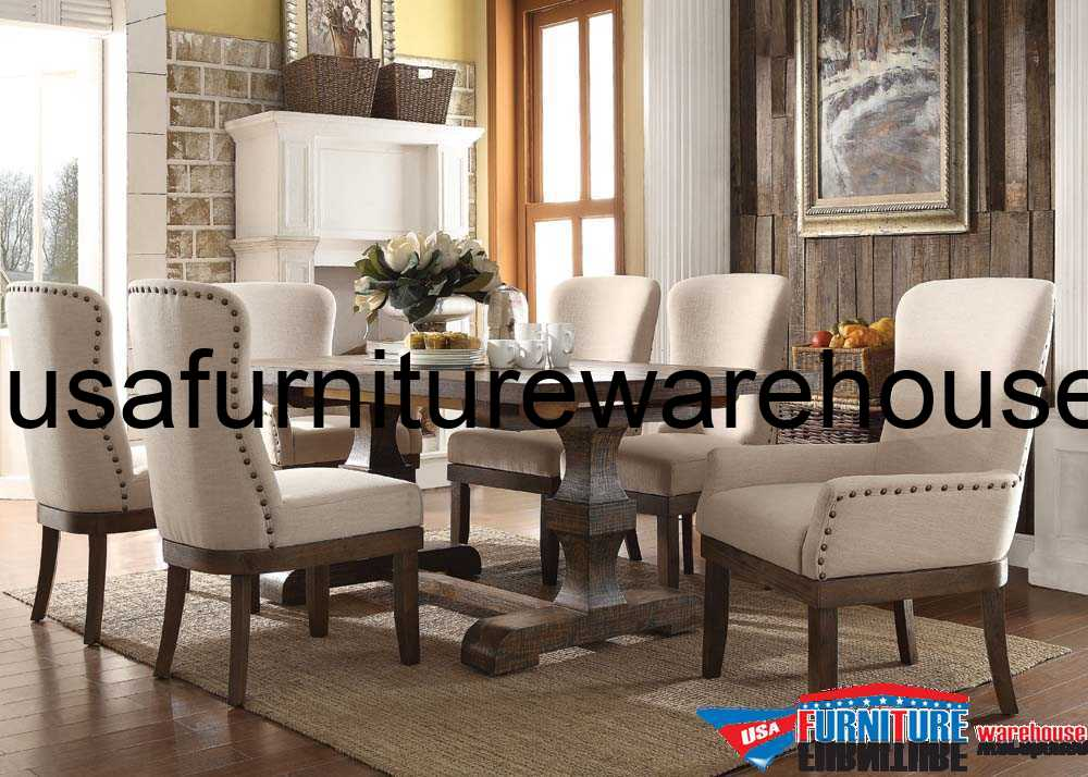 9 piece acme landon rustic dining set for Rustic dining room