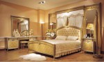 4-Pc Zeus European Golden Luxury Bedroom Set With Large Dresser
