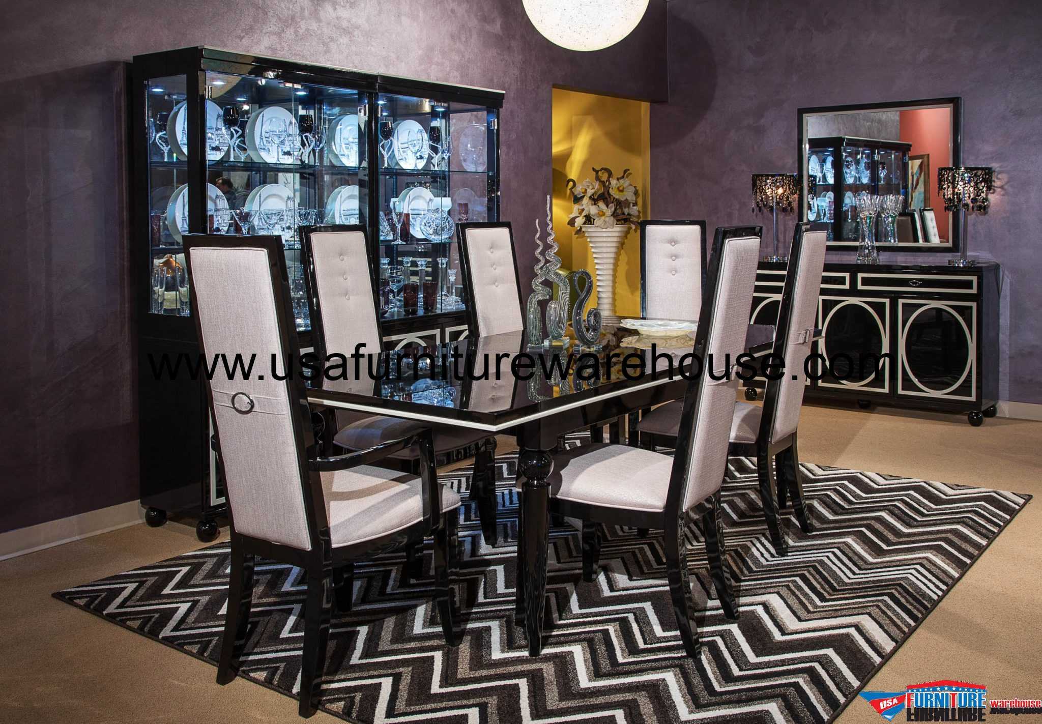 AICO Furniture Sky Tower Modern Dining Set in Black Onyx