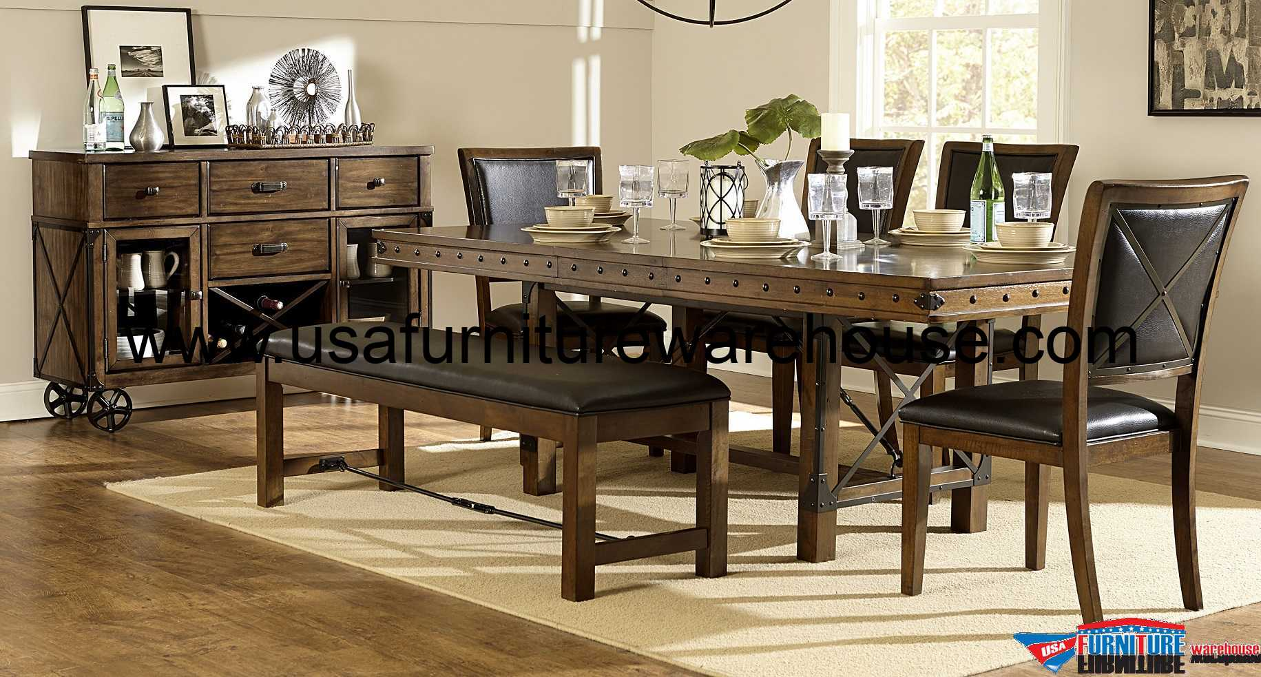 9 piece homelegance urbana trestle dining set for Table urbana but