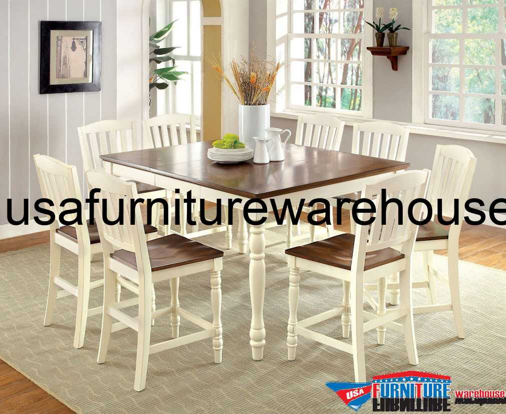 9 Piece Harrisburg Counter Height Dining Set In Vintage White/Oak .
