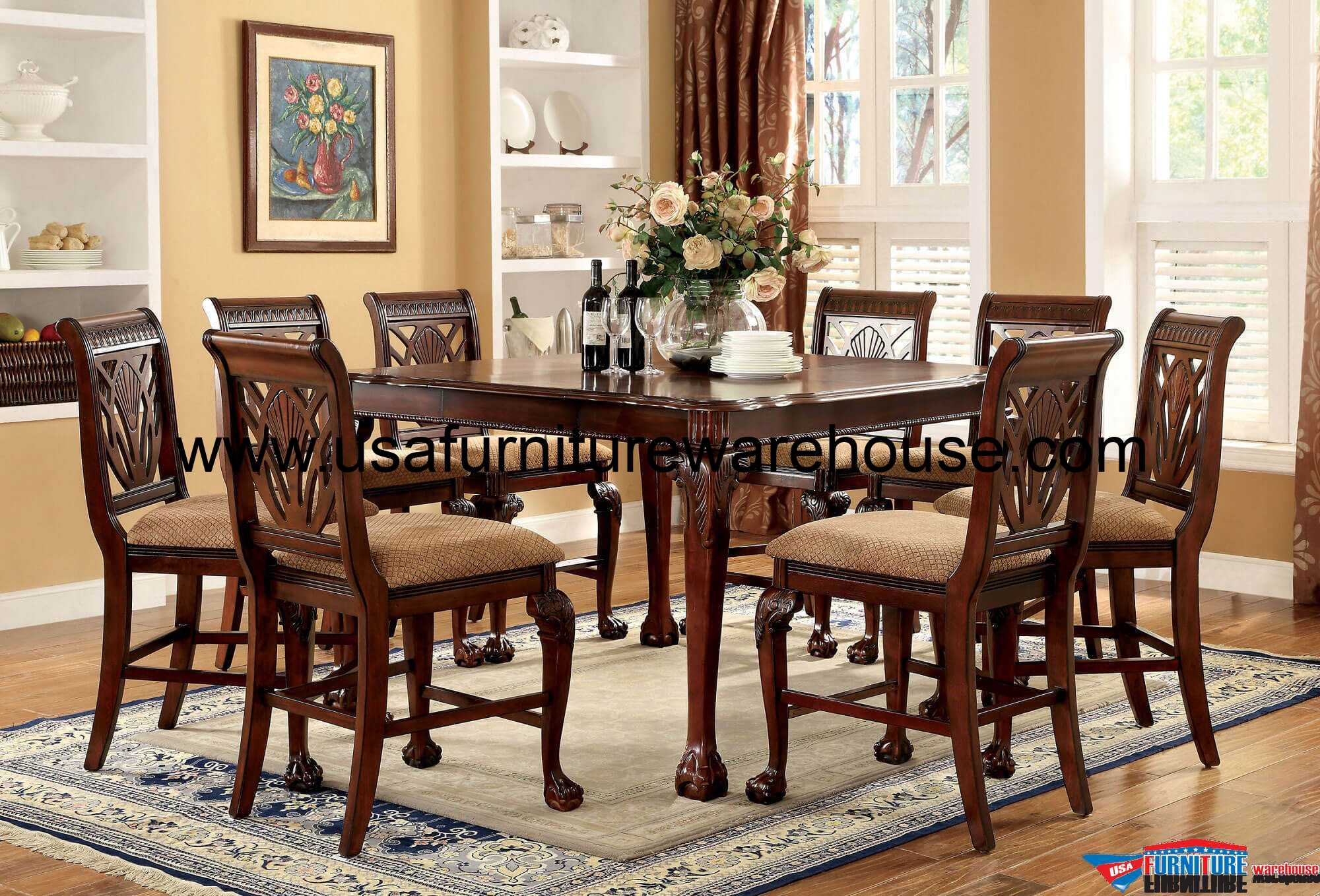 9 piece counter height dining room sets 9 petersburg counter height dining set in cherry finish 9159