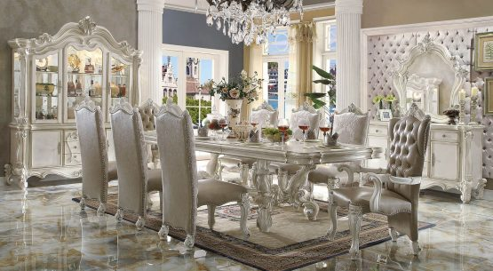 Versailles Dining Set In bone White Finish collection
