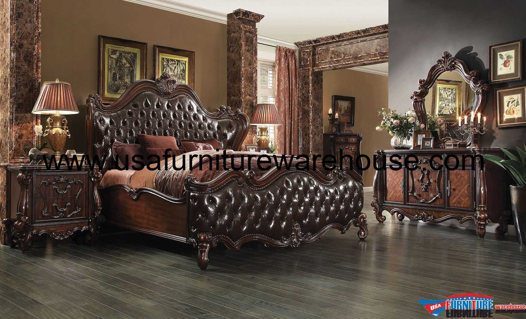Versailles Dark Brown Bedroom Set