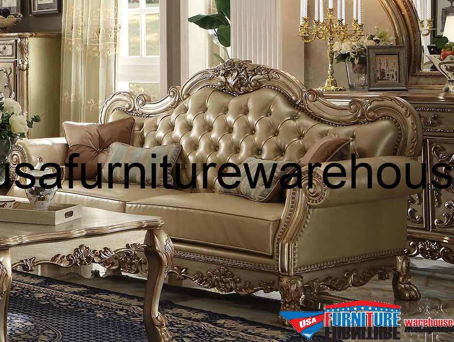 Superieur Dresden Wood Trim Gold Patina Leather Sofa