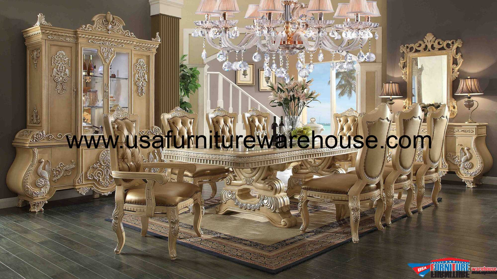11 Piece Homey Design Victorian Palace Hd 7266 Dining Set