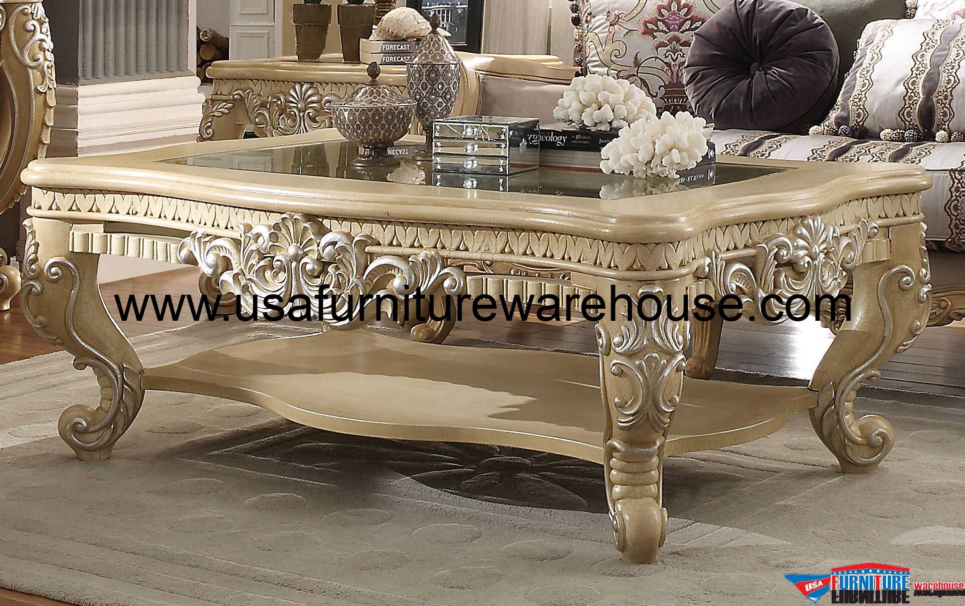 Homey Design Victorian Palace HD 7266 Coffee Table USA Furniture
