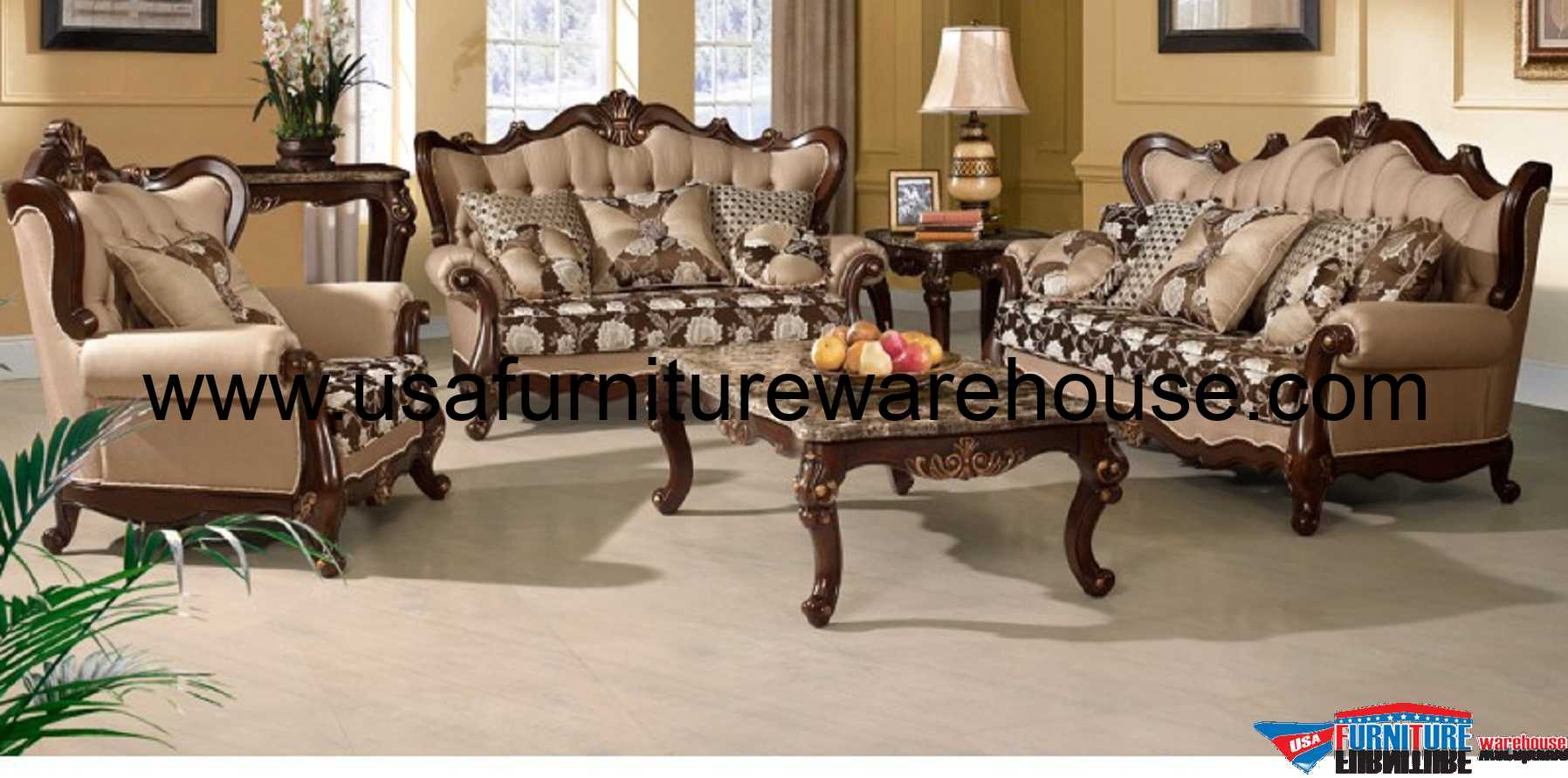 Amazing Sophie Wood Trim Fabric Sofa Set