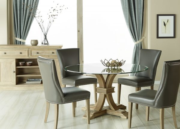 Devon Round Glass Top Dining Set With Avery Leather Chairs