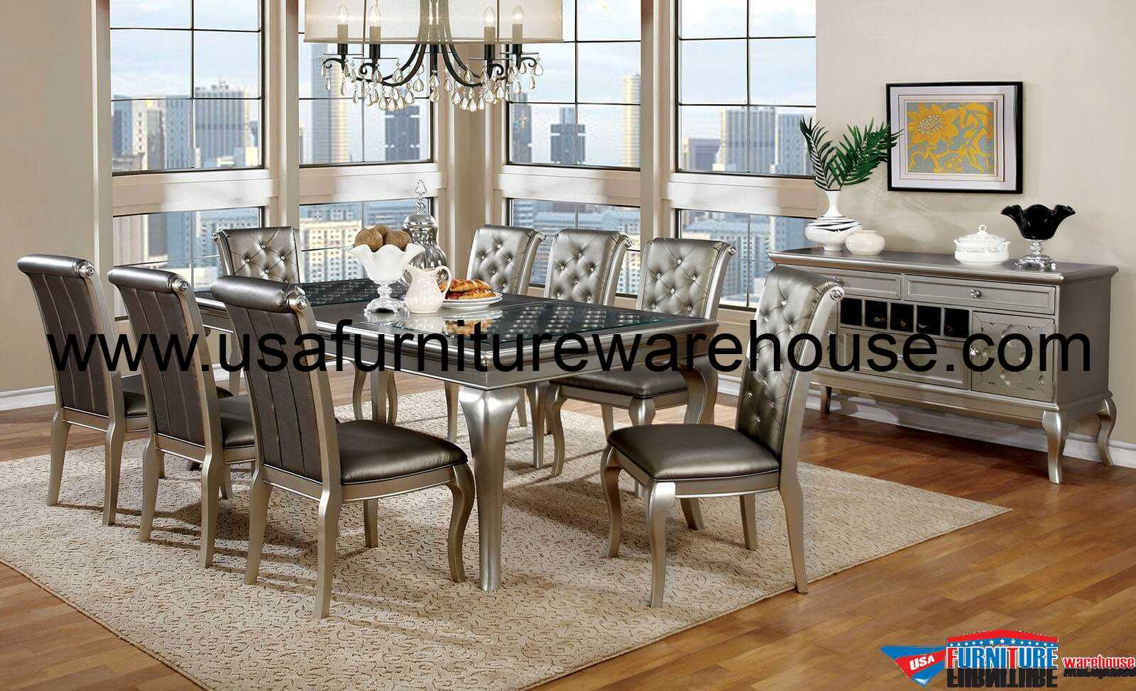 Amina silver contemporary dining set for Contemporary dining set