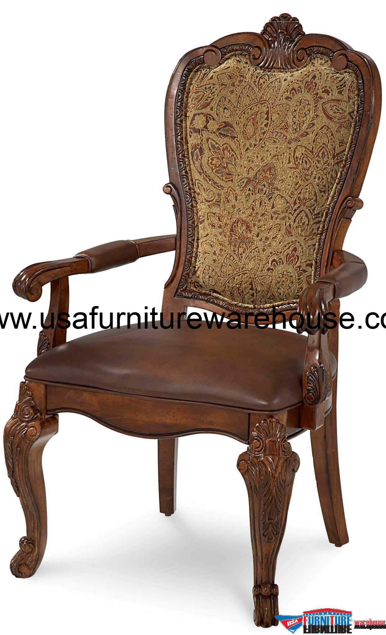 Old World Upholstered Dining Arm Chair