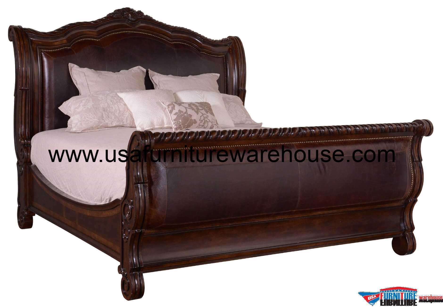 A R T Furniture Valencia Leather Sleigh Bed Usa