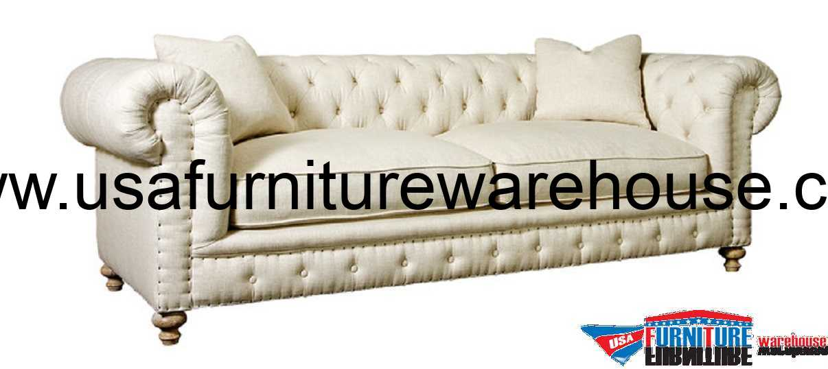 Greenwich Tufted Natural Fabric Sofa