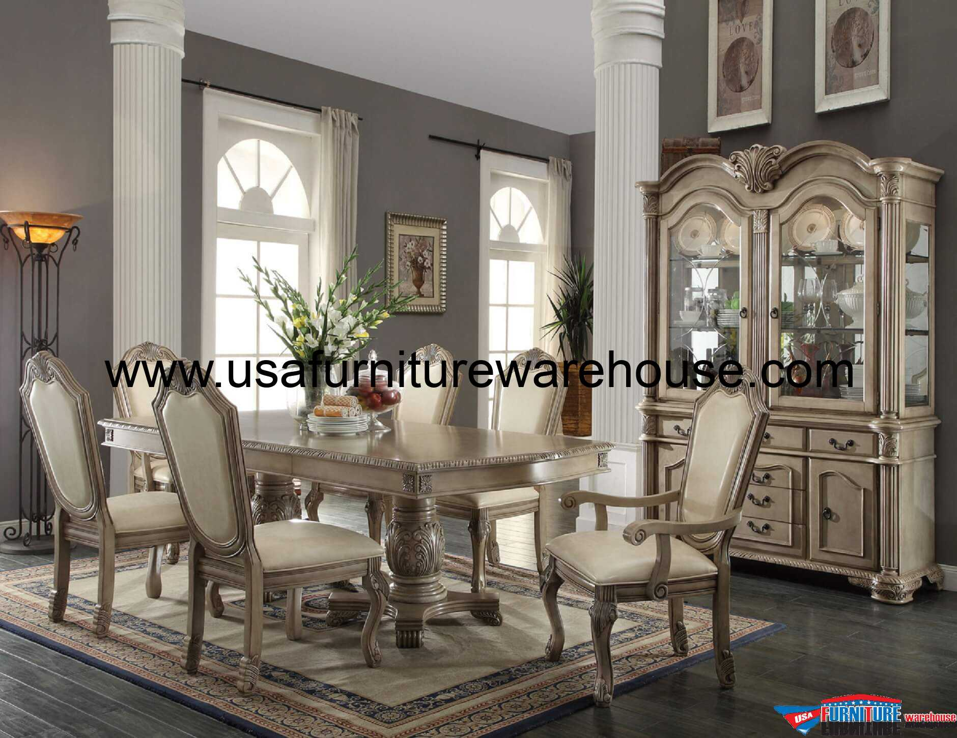 9 piece acme chateau de ville antique white finish dining set for Formal dining room furniture