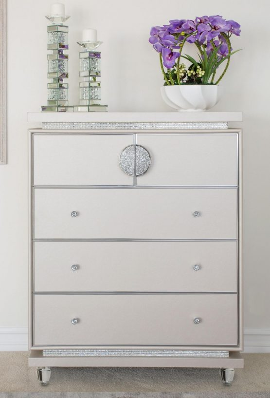 AICO Glimmering Heights 5 Drawer Chest Ivory