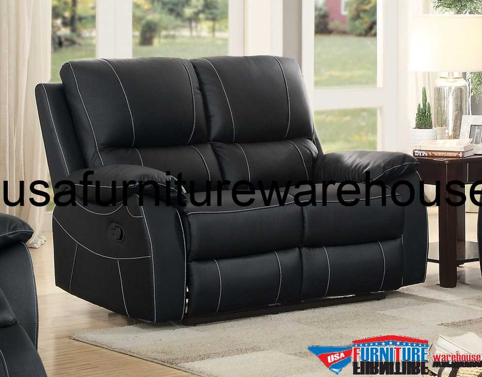 Enjoyable Homelegance Greeley Top Grain Black Leather Double Reclining Loveseat Forskolin Free Trial Chair Design Images Forskolin Free Trialorg