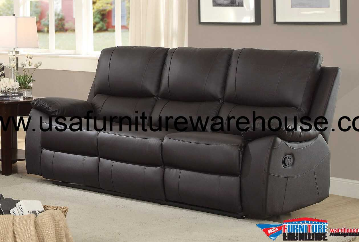 homelegance greeley top grain brown leather double reclining sofa usa furniture warehouse. Black Bedroom Furniture Sets. Home Design Ideas