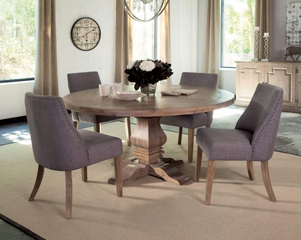 Coaster Florence Round Dining Set Upholstered Grey Chair