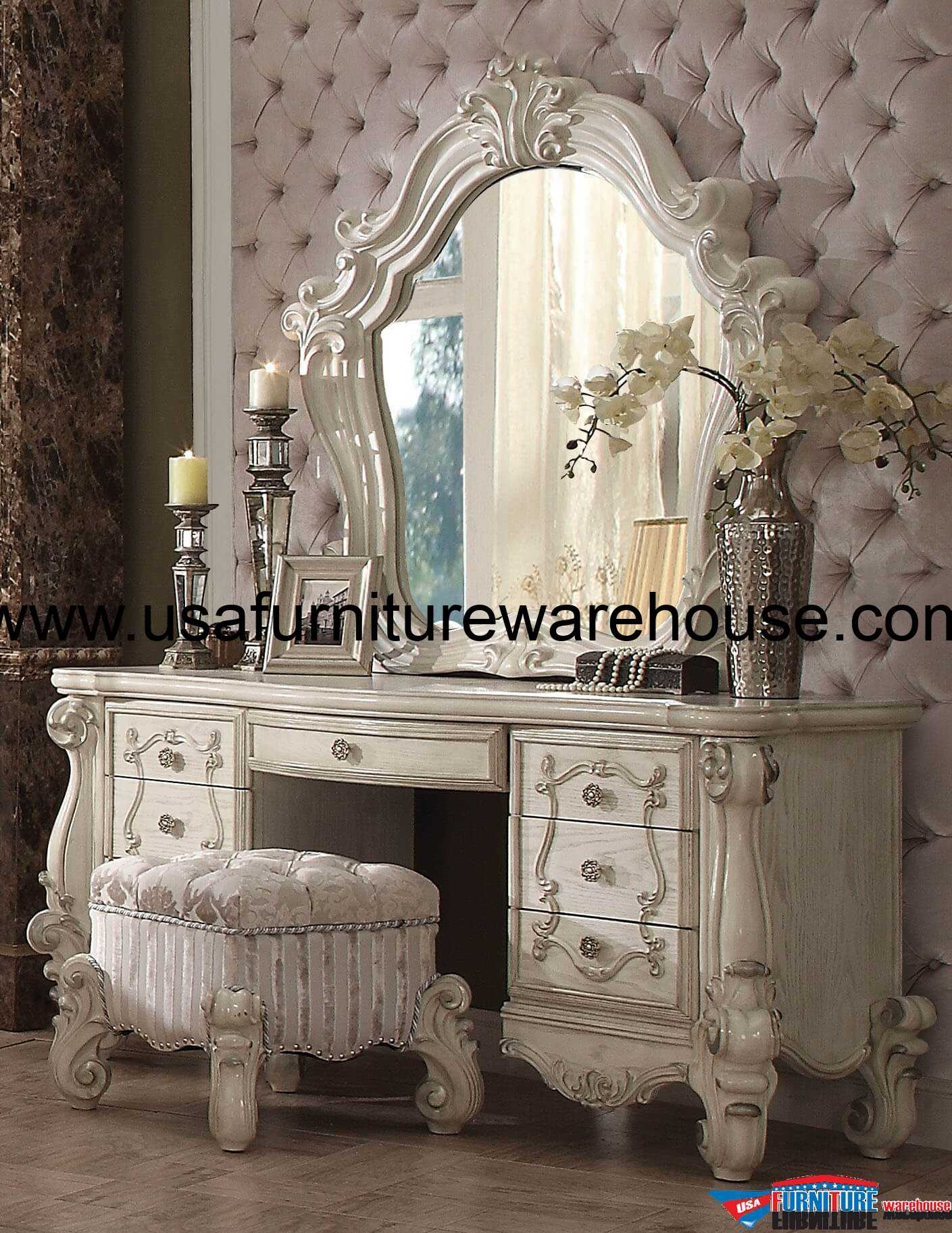 Mirrored Vanity Table And Stool: Acme Versailles Bone White 3 Piece Vanity