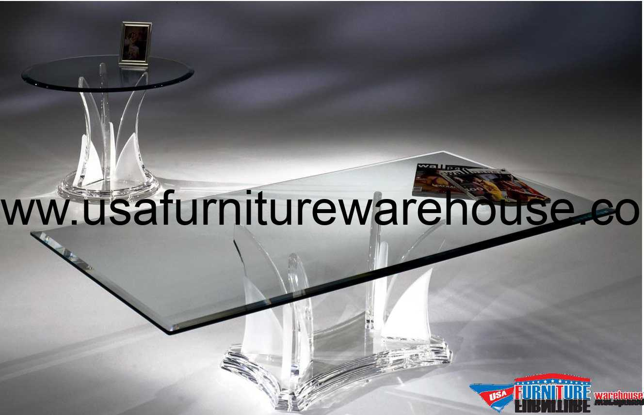 Acrylic clear butterfly coffee table with glass top for Clear lucite acrylic coffee table