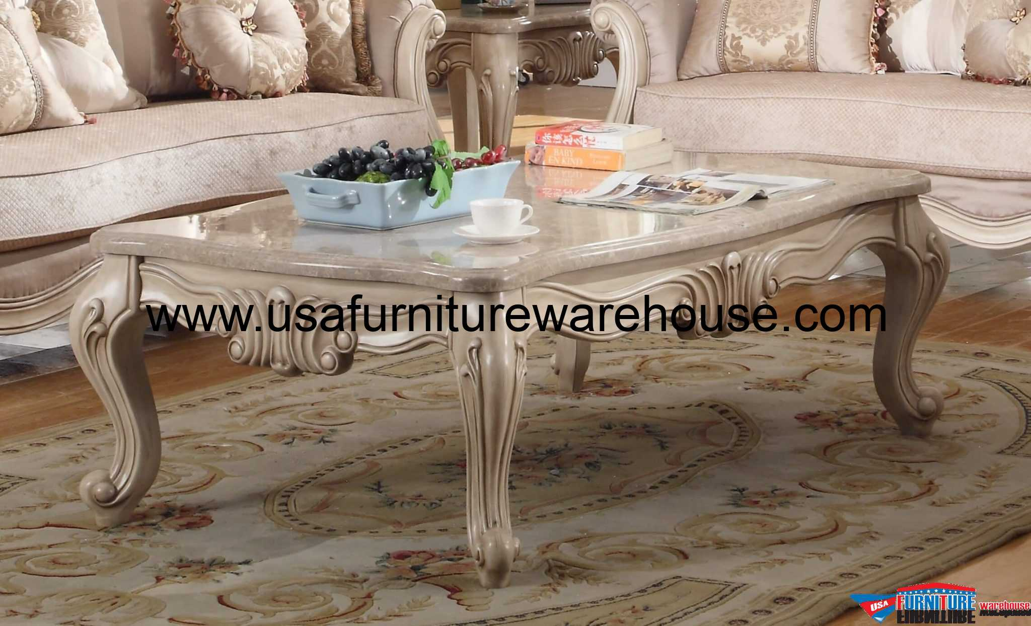 Mcferran SF8701 Natalie Marble Top Coffee Table Antique Beige