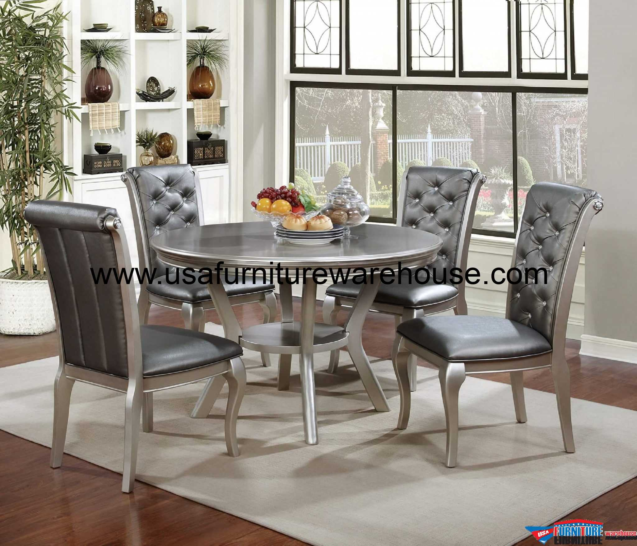 Amina Silver Contemporary Dining Set : 5 Piece Amina Silver Round Dining Set from www.usafurniturewarehouse.com size 2200 x 1885 jpeg 678kB