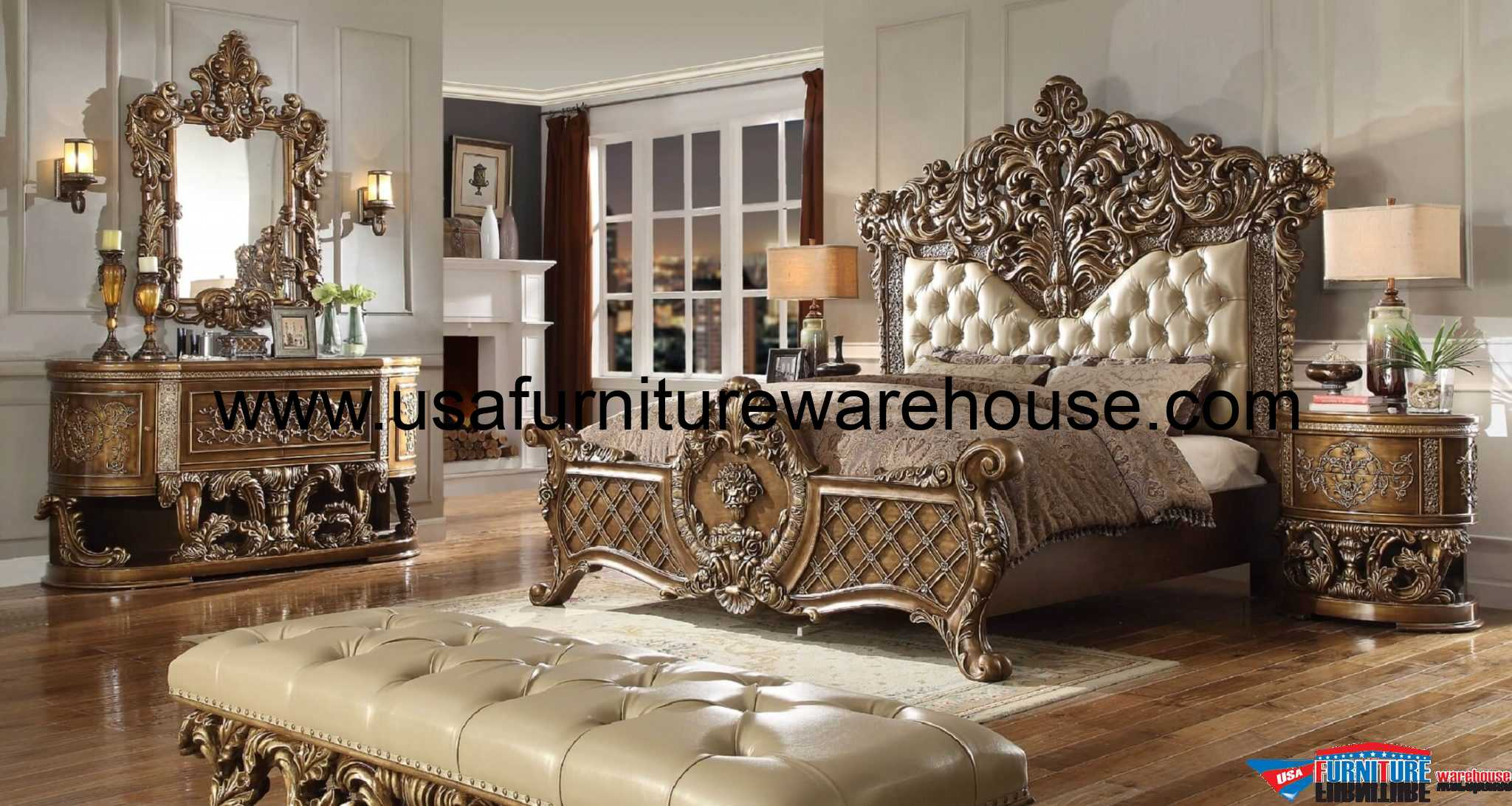 5 Piece Homey Design HD 8018 Marbella Bedroom Set