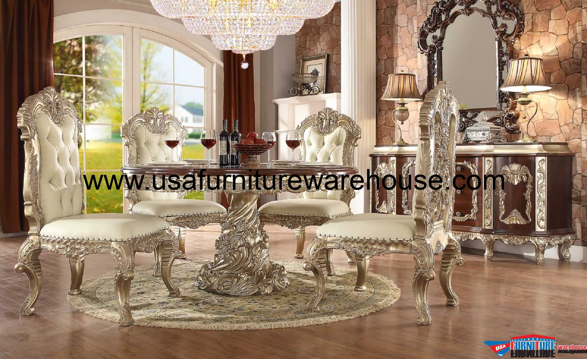 Lovely Homey Design HD 8017 Round Dining Set Gallery