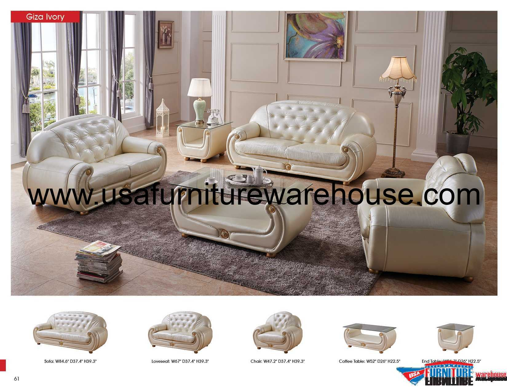 Giza Italian Leather Sofa Set