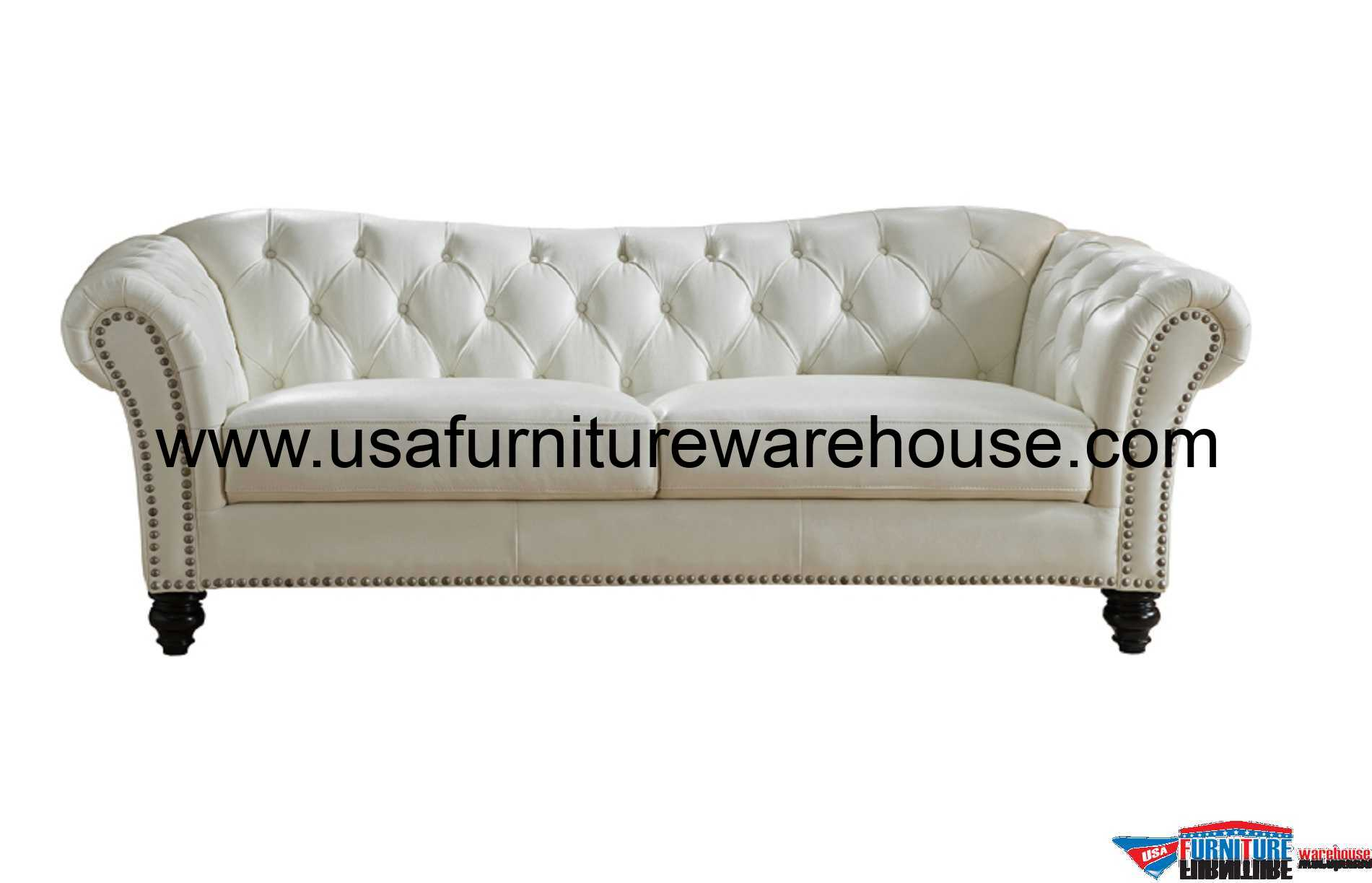 Mona Full Top Grain Ivory White Leather Sofa