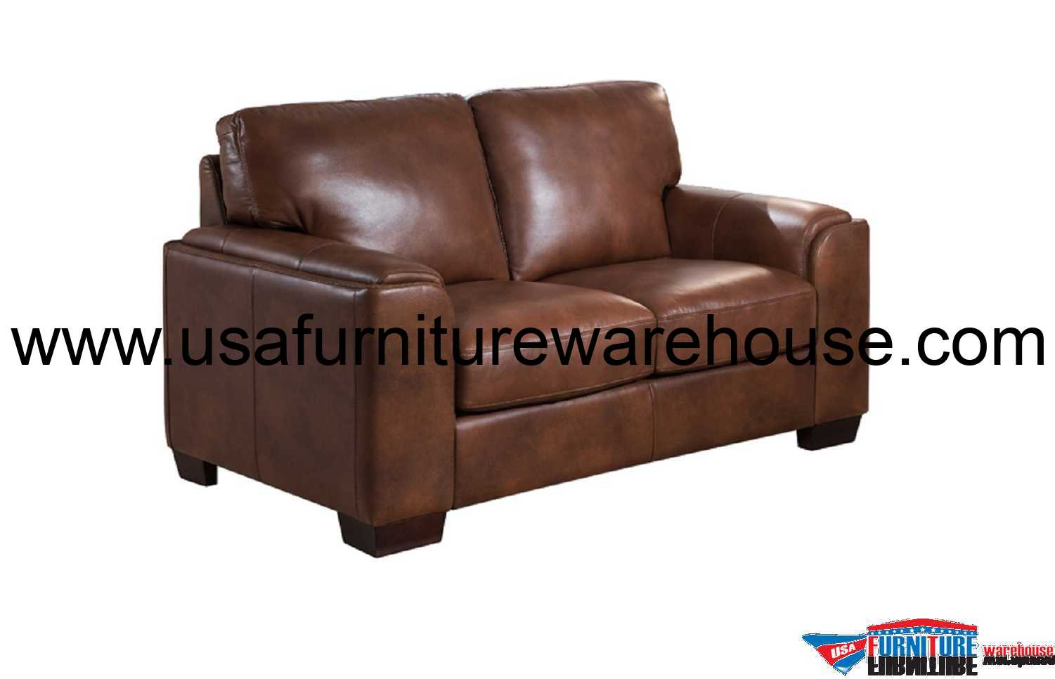 Suzanne full top grain brown leather loveseat Chocolate loveseat