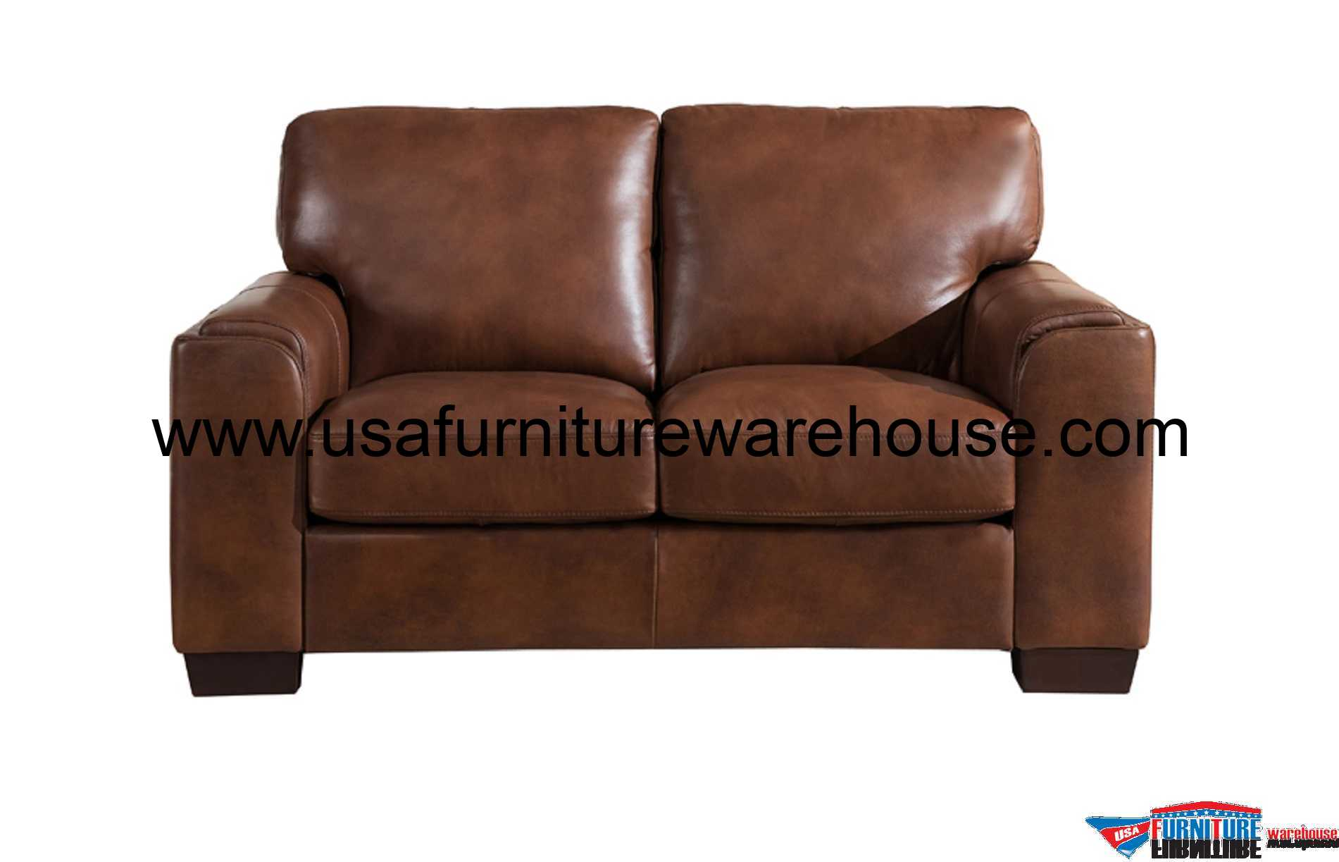 Suzanne Full Top Grain Brown Leather Loveseat