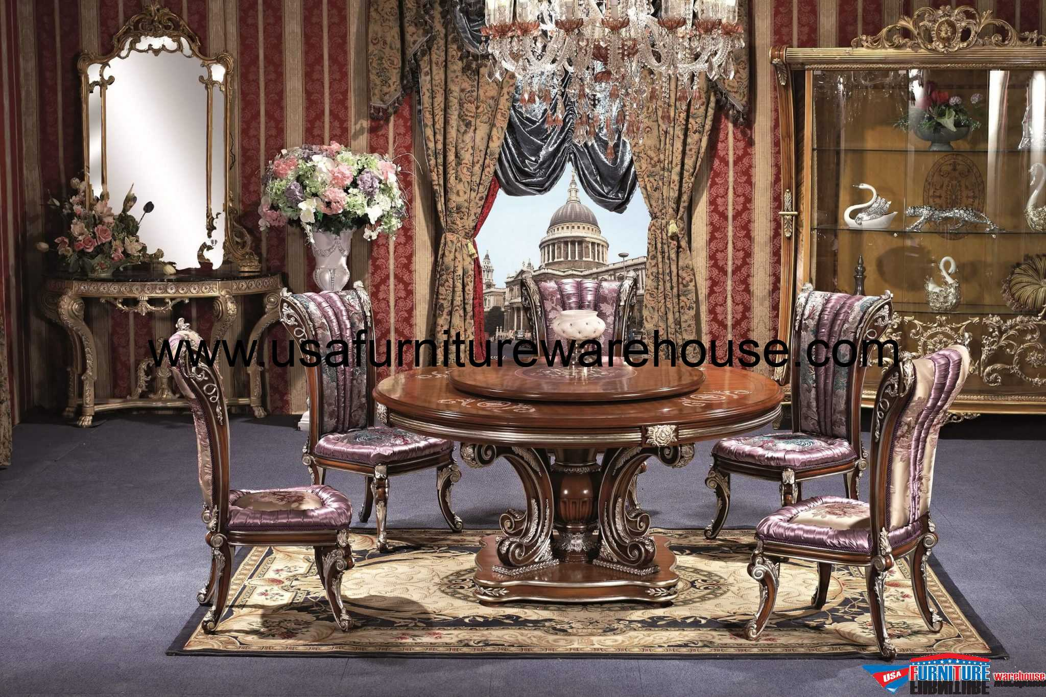 7 Piece George Versailles Luxury Round Dining Set : 7 Piece George Versailles Luxury Round Dining Set from www.usafurniturewarehouse.com size 2600 x 1733 jpeg 1660kB