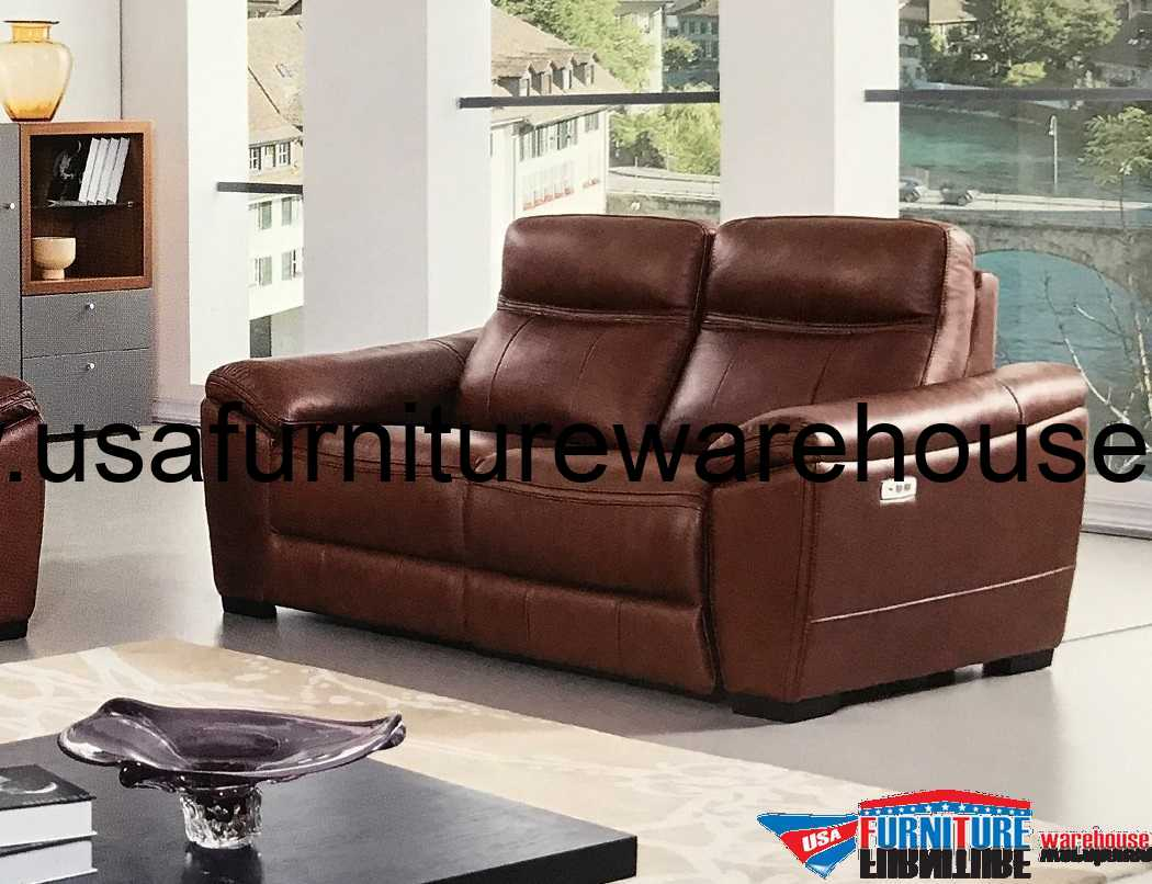 Forma full italian brown leather power recliner loveseat Power loveseat recliner