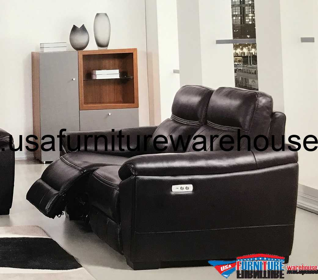 Furniture Store Online Usa: Forma Full Italian Dark Brown Leather Power Recliner Loveseat