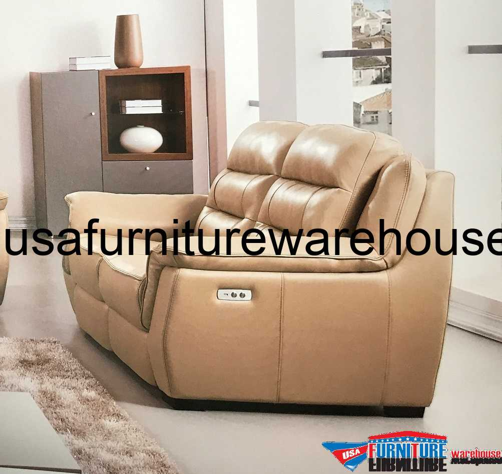 Furniture Store Online Usa: Lago Full Italian Tan Leather Power Recliner Loveseat